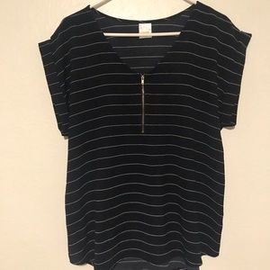 TOVIA Navy/white Striped Blouse with zipper